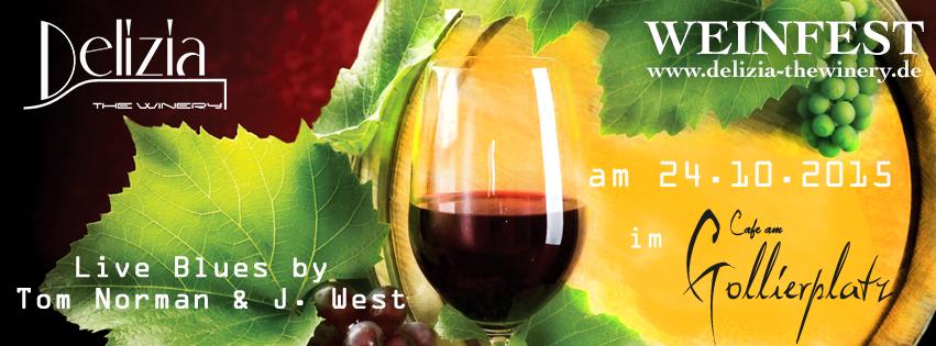 Flyer Weinglaß und Weinfass für Wine & Blues Event